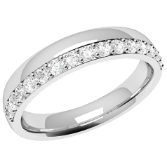 RDW070U - Palladium 3.65mm court ladies wedding ring with fifteen round brilliant cut diamonds in a claw setting