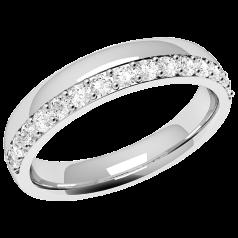Ehering mit Diamanten für Dame in 18kt Weißgold mit 15 runden Brillanten in Krappenfassung, bombiertes Profil