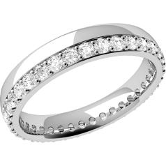 Verigheta cu Diamant Dama Platina cu Diamante Rotund Briliant in Setare Gheare in Jurul Inelului Profil Bombat Latime 3.65mm