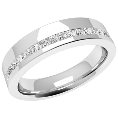RDW072W - 18ct white gold 4.5mm ladies wedding ring with seventeen princess cut diamonds in a channel setting