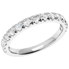 Half Eternity Ring/Diamond set wedding ring for women in 9ct white gold with 15 round brilliant diamonds in claw setting