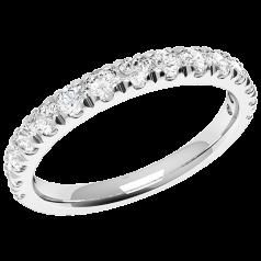 Verigheta cu Diamant/ Inel Eternity Dama Aur Alb 18kt cu 15 Diamante Rotund Briliant in Setare Gheare In Stoc