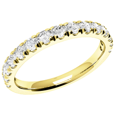 RDW074Y - 18ct yellow gold eternity/wedding ring with 15 claw-set round diamonds
