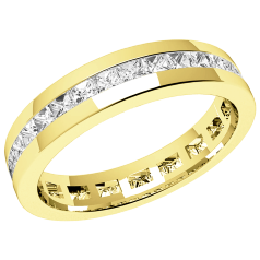 RDW076Y - 18ct yellow gold channel set full eternity/wedding ring with princess cut diamonds