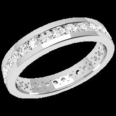 RDW077PL - Platinum full eternity/wedding ring with round brilliant cut diamonds