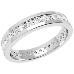 RDW077W - 18ct white gold full eternity/wedding ring with round brilliant cut diamonds