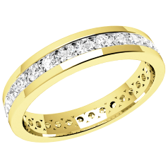 RDW077Y - 18ct yellow gold full eternity/wedding ring with round brilliant cut diamonds