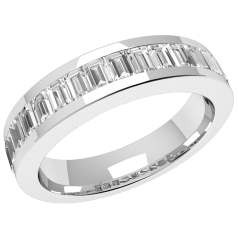 RDW078W - 18kt Weissgold Eternity/ Ehering mit 17 Baguette Schliff Diamanten