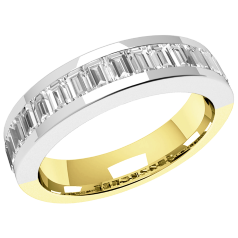 RDW078YW - 18ct yellow and white gold eternity/wedding ring with 17 baguette cut diamonds in a channel setting.