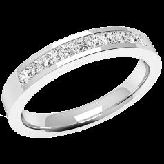 RDW079W1- 18kt Weissgold Eternity/ Ehering mit 9 Princess Schliff Diamanten in Kanalfassung