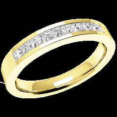 Halb Eternity Ring/Ehering mit Diamanten für Dame in 18kt Gelbgold mit 9 Princess Schliff Diamanten in Kanalfassung