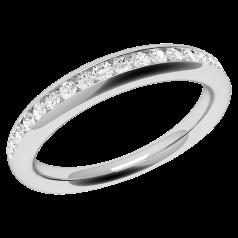 Verigheta cu Diamant/Inel Eternity Dama Aur Alb 18kt cu 17 Diamante Rotund Briliant in Setare Canal