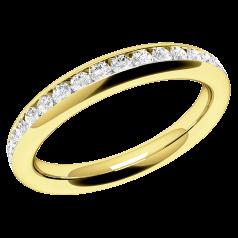 Halb Eternity Ring/Ehering mit Diamanten für Dame in 18kt Gelbgold mit 17 runden Diamanten in Kanalfassung