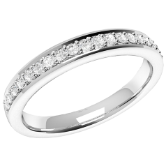 Half Eternity Ring/Diamond set wedding ring for women in 9ct white gold with 19 round brilliant cut diamonds in claw setting, court, width 2.75mm