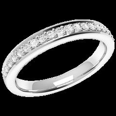 Halb Eternity Ring/Ehering mit Diamanten für Dame in Platin mit 19 runden Brillanten in Krappenfassung, bombiertes Profil, 2.75mm breit