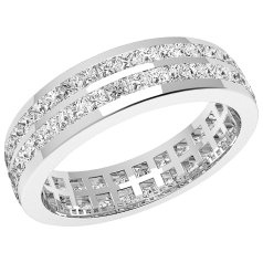 Verigheta cu Diamant/Inel Eternity Dama Aur Alb 18kt cu Diamante Princess in 2 Randuri