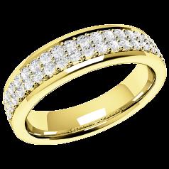 Halb Eternity Ring/Ehering mit Diamanten für Dame in 18kt Gelbgold mit 38 in Krappenfassung in 2 Reihen