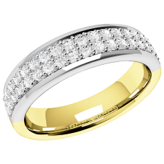 RDW083YW - 18ct yellow and white gold eternity/wedding ring with 38 round diamonds arranged over 2 rows in a claw setting