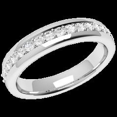 Halb Eternity Ring/Ehering mit Diamanten für Dame in 18kt Weißgold mit 17 runden Brillanten in Krappenfassung, Bombiert, 3.75mm Breit