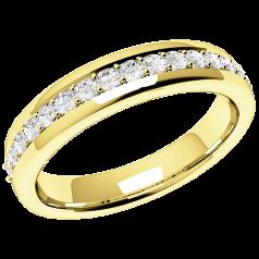 Halb Eternity Ring/Ehering mit Diamanten für Dame in 18kt Gelbgold mit 17 runden Brillanten in Krappenfassung, Bombiert, 3.75mm Breit