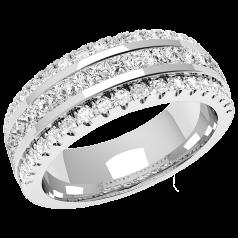 RDW085PL - Platin 7.0mm breit Cocktail-/ Trauring mit 15 Princess Schliff Diamanten in Kanalfassung und 36 runden Diamanten