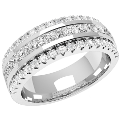 Verigheta cu Diamant/ Inel eternity Dama Aur Alb, 18kt cu 15 Diamante Princess & 36 Diamante Rotund Briliant in Setare Canal, 7.00mm