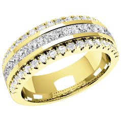 RDW085Y - 18ct yellow gold 7.00mm wide wedding/dress ring with 15 channel-set princess cut diamonds and 36 round diamonds