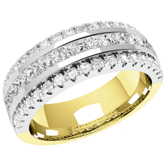 RDW085YW - 18ct yellow and white gold 7.00mm wide wedding/dress ring with 15 channel-set princess cut diamonds and 36 round diamonds