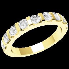 Halb Eternity Ring/Ehering mit Diamanten für Dame in 18kt Gelbgold mit 9 runden Brillanten in Balkenfassung, 2.9mm breit