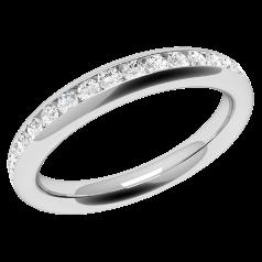 Verigheta cu Diamant/Inel Eternity Dama Aur Alb 18kt cu Diamante Rotunde in Setare Tip Canal
