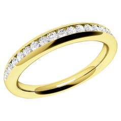 RDW087Y - 18ct yellow gold full eternity/wedding ring channel set with round brilliant cut diamonds.