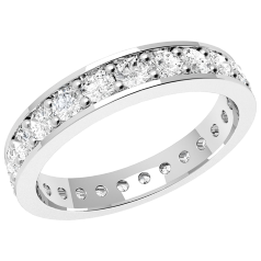 RDW088PL - Platinum full eternity /wedding ring with round brilliant cut diamonds going all the way round in a claw setting.