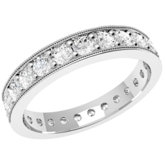 RDW088W - 18ct white gold full eternity/wedding ring with round brilliant cut diamonds going all the way round in a claw setting.