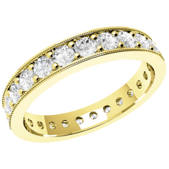 RDW088Y - 18ct yellow gold full eternity/wedding ring with round brilliant cut diamonds going all the way round in a claw setting.