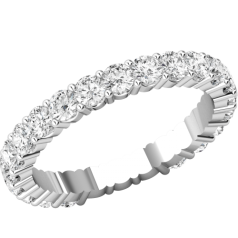 RDW089W - 18ct white gold full eternity/wedding ring with round brilliant cut diamonds going all the way round in a claw setting