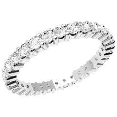 Full Eternity Ring/Diamond set wedding ring for women in 18ct white gold with round brilliant cut diamonds going all the way round in a claw setting on Offer