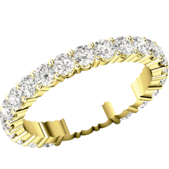 RDW089Y - 18ct yellow gold full eternity/wedding ring with round brilliant cut diamonds going all the way round in a claw setting