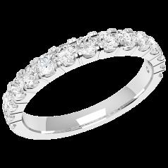 RDW090PL - Inel Eternity/ verighetă 2.5mm din platină cu 15 diamante tăietura rotund brilliant setate cu gheare