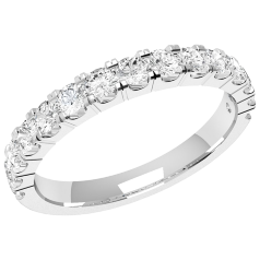 Verigheta cu Diamant/inel Eternity Dama Aur Alb, 18Kt cu 15 Diamante Rotund Briliant 2.5mm