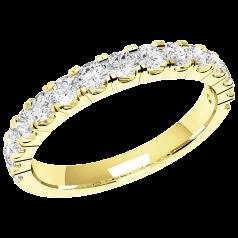RDW090Y - 18kt Gelbgold 2.5mm Damen Eternity/ Ehering mit 15 runden Brillant Schliff Diamanten in Krappenfassung