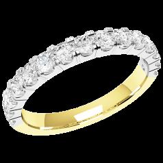 RDW090YW - 18kt Gelb- und Weissgold 2.5mm Eternity/ Ehering mit 15 runden Brillant Schliff Diamanten in Krappenfassung