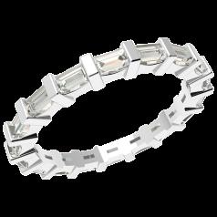 Verigheta cu Diamant/Inel Eternity Dama Aur Alb 18kt cu Diamante Forma Bagheta in Setare Tip Bara, Latime 2.3mm