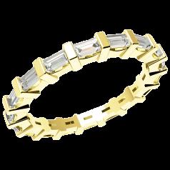 RDW091Y - 18kt Gelbgold 2.3mm voller Eternity/Ehering mit Baguette Schliff Diamanten in Balkenfassung, die gehen ringsherum