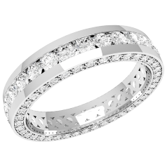 RDW094PL - Platinum 4.0mm full eternity/wedding ring with round brilliant cut diamonds in the centre and on the sides, going all the way round.