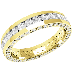 RDW094Y - 18ct yellow gold 4.0mm full eternity/wedding ring with round brilliant cut diamonds in the centre and on the sides, going all the way round.