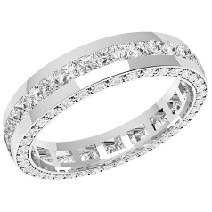 RDW095PL - platinum 4.0mm full eternity/wedding ring with princess cut diamonds in the centre and round diamonds on the sides, going all the way round.
