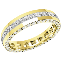 RDW095Y - 18ct yellow gold 4.0mm full eternity/wedding ring with princess cut diamonds in the centre and round diamonds on the sides, going all the way round.