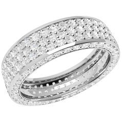 RDW096PL - Platinum 5.5mm wide full eternity/wedding ring with 5 rows of round brilliant cut diamonds going all the way round.