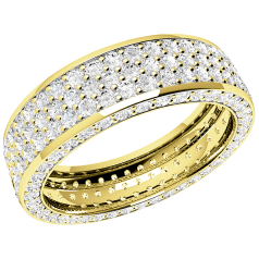 RDW096Y - 18ct yellow gold 5.5mm wide full eternity/wedding ring with 5 rows of round brilliant cut diamonds going all the way round.