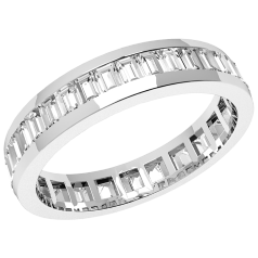 Verigheta cu Diamant/Inel Eternity Dama Platina 950 cu Diamante Forma Bagheta de jur imprejur, Latime 4mm